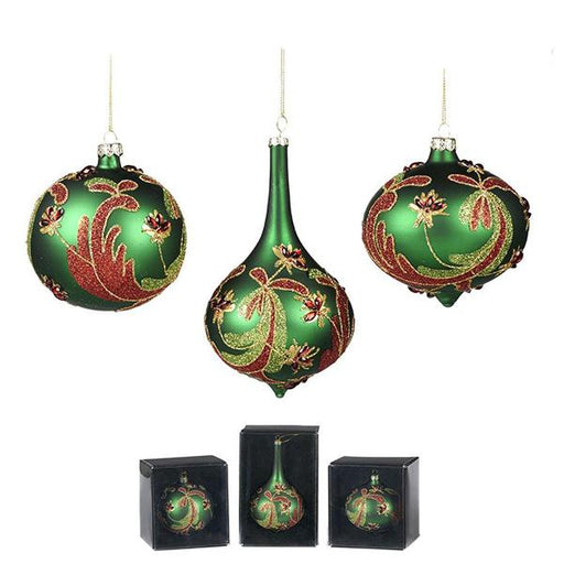 Ekrismis Green & red glass floral ball drop with swirl finish - 3 assorted shapes (16cm)
