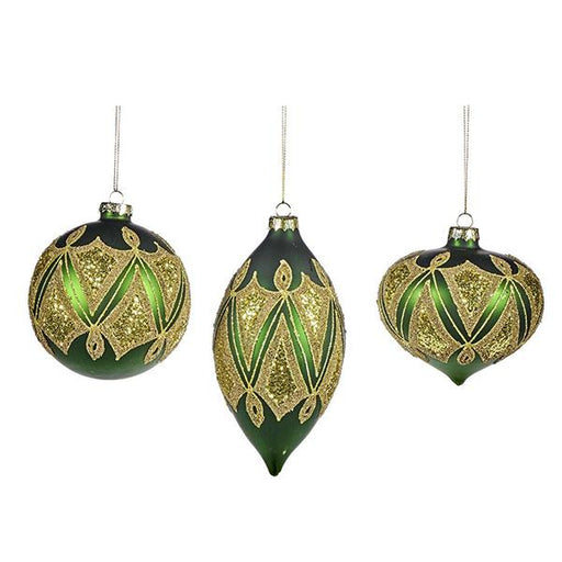 Ekrismis Green glass ball with zigzag deco finish - 3 assorted shapes (10cm)