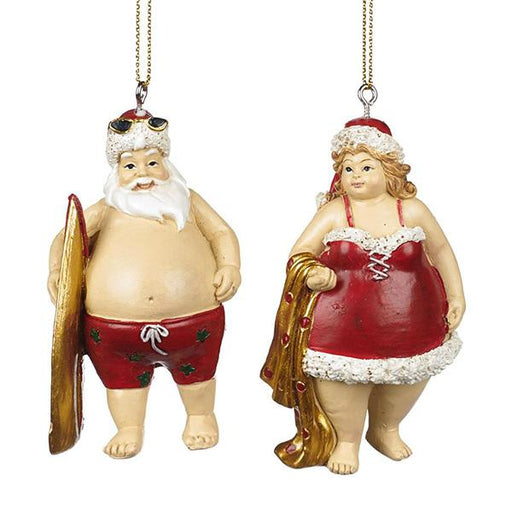 Ekrismis Mr & Mrs Beach Santa - 2 assorted shapes (8,5cm)