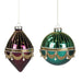 Ekrismis Purple & green glass pearl swag finish ball - 2 assorted shapes (12cm)