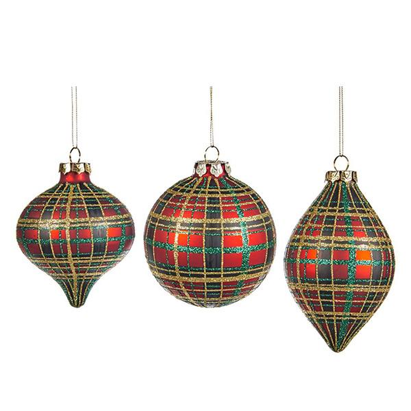 Ekrismis Red & gold glass ball with tartan finish - 3 assorted shapes (10cm)
