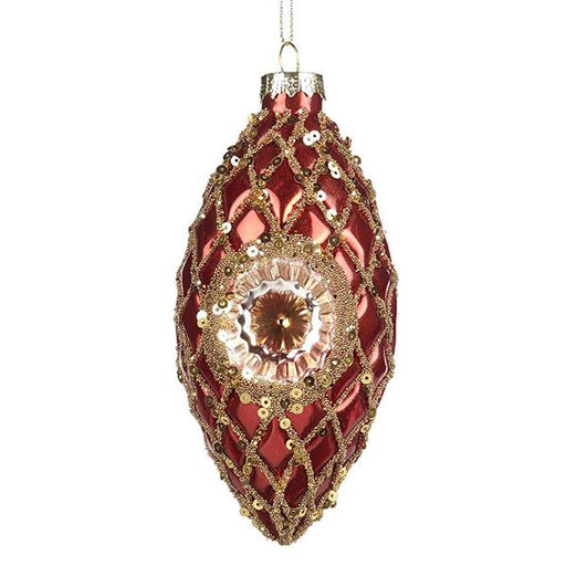 Ekrismis Red & gold glass sequined ornament with diamante reflector finish (12cm)