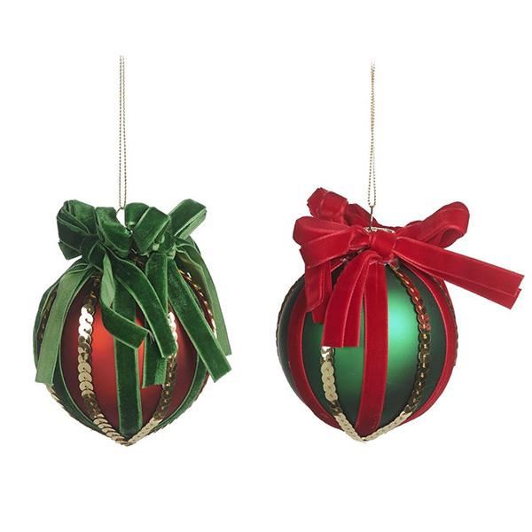 Ekrismis Red & green glass ball gift wrapped with velvet bow - 2 assorted shapes (10,5cm)