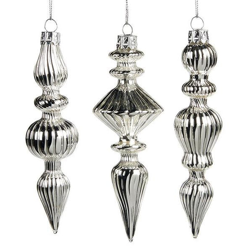 Ekrismis Silver glass ornament with ribbon stripe finish- 3 assorted shapes (15cm)