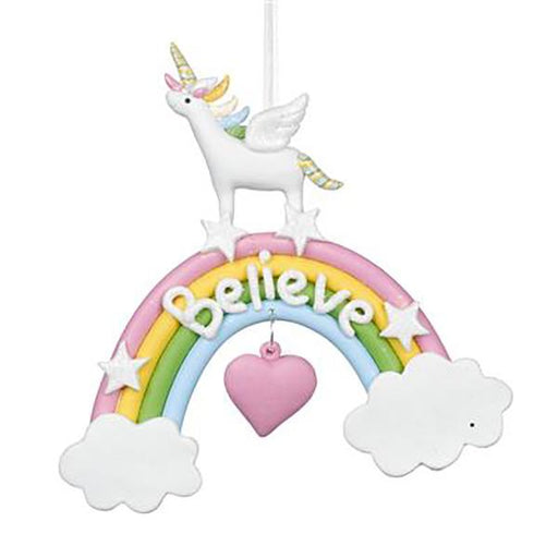 "Ekrismis Multicoloured clay ""believe"" unicorn on rainbow (13,5cm)"