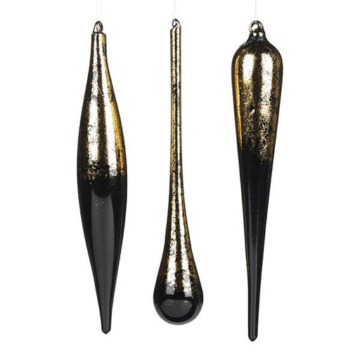 Ekrismis Black glass drop icicle with goldleaf top - 3 assorted shapes (30cm)