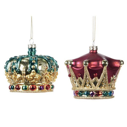 Ekrismis Burgandy green & gold glass crowns - 2 assorted shapes (8,5cm)
