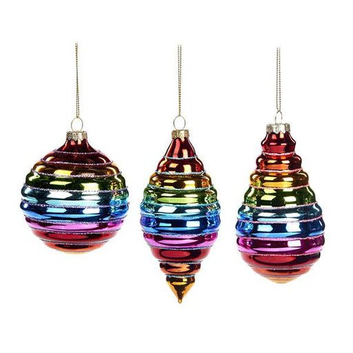 Ekrismis Multicoloured rainbow glass ball drops - 3 assorted shapes (13cm)
