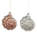 Ekrismis Pink & silver glass pearl jewel shell - 2 assorted shapes (12cm)