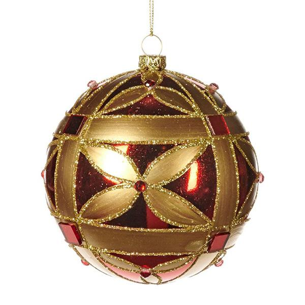 Ekrismis Red & gold jewel netted ball (10cm)