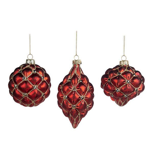 Ekrismis Red & gold glass ball ornament with 3D netted finish - 3 assorted shapes (8cm)