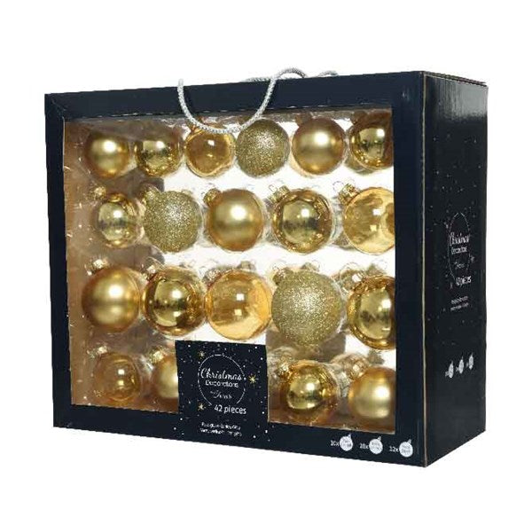 Pearl gold glass baubles mix - assorted sizes