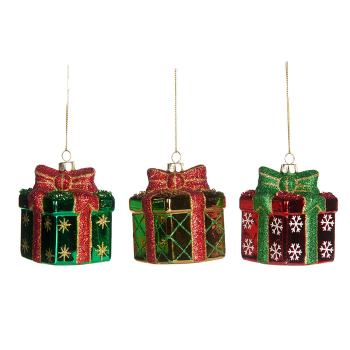 Red & green glass gift box - 3 assorted shapes (8cm)