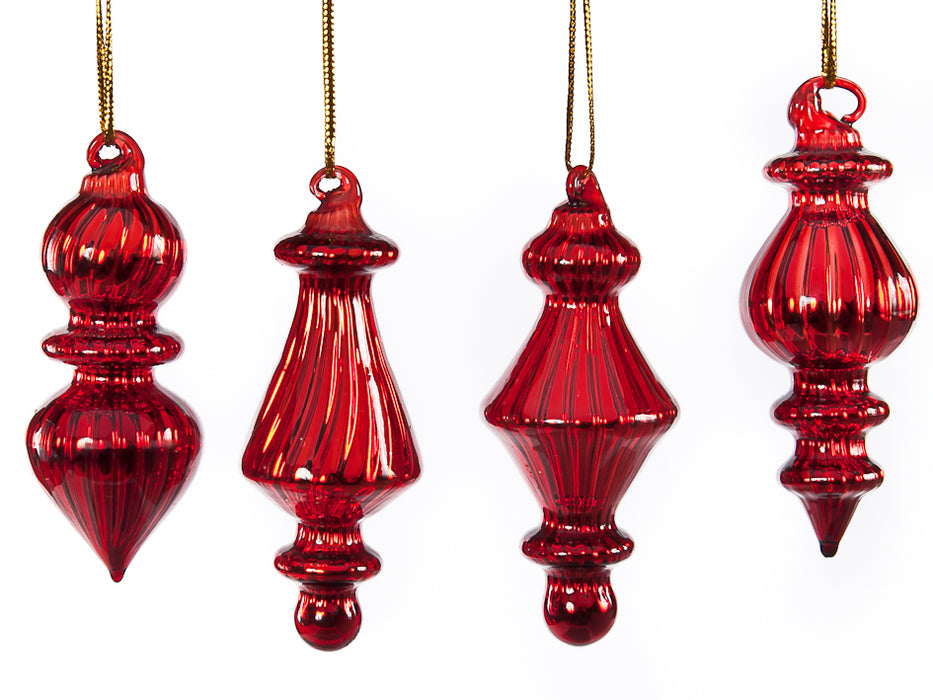 Red glass vertical line ornament - 4 assorted shapes (8cm)