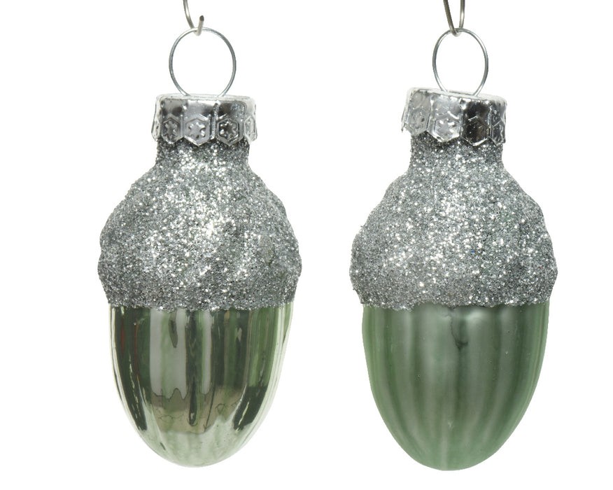 Sage green glass acorn, enamel & matt finish with glitter (3x4cm)