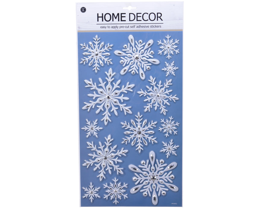 White & silver pop-up snowflake window decor (24x41cm)