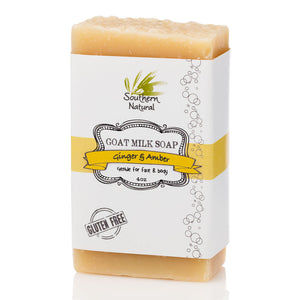 A bar of Ginger & Amber Goat's Milk Soap from Southern Natural