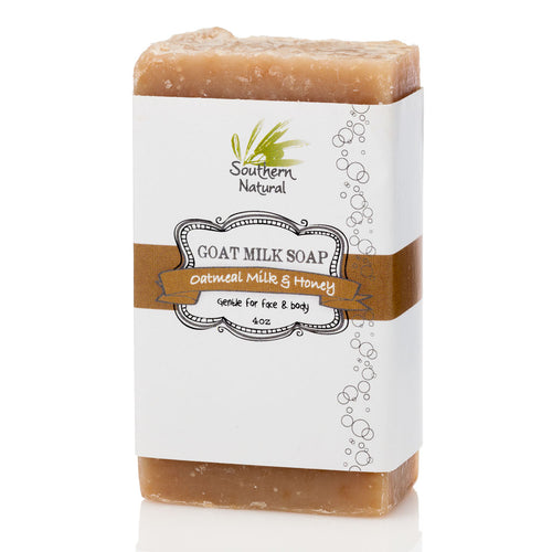 A bar of Oatmeal Milk & Honey Goat's Milk Soap from Southern Natural