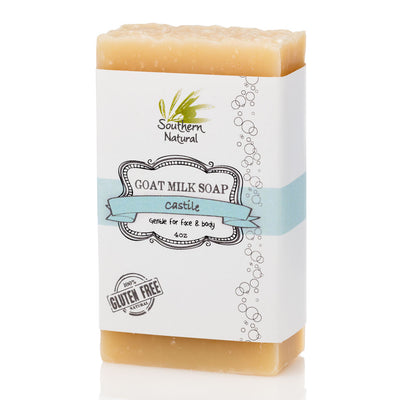 A bar of Castile Goat's Milk Soap from Southern Natural, LLC