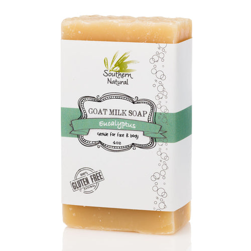 A bar of Eucalyptus Goat's Milk Soap by Southern Natural