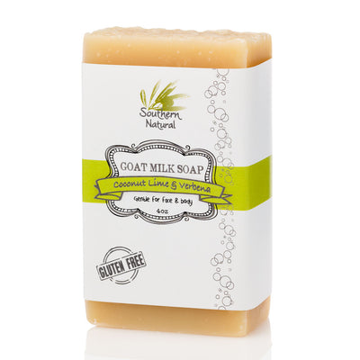 A bar of Coconut Lime & Verbena Goat's Milk Soap from Southern Natural