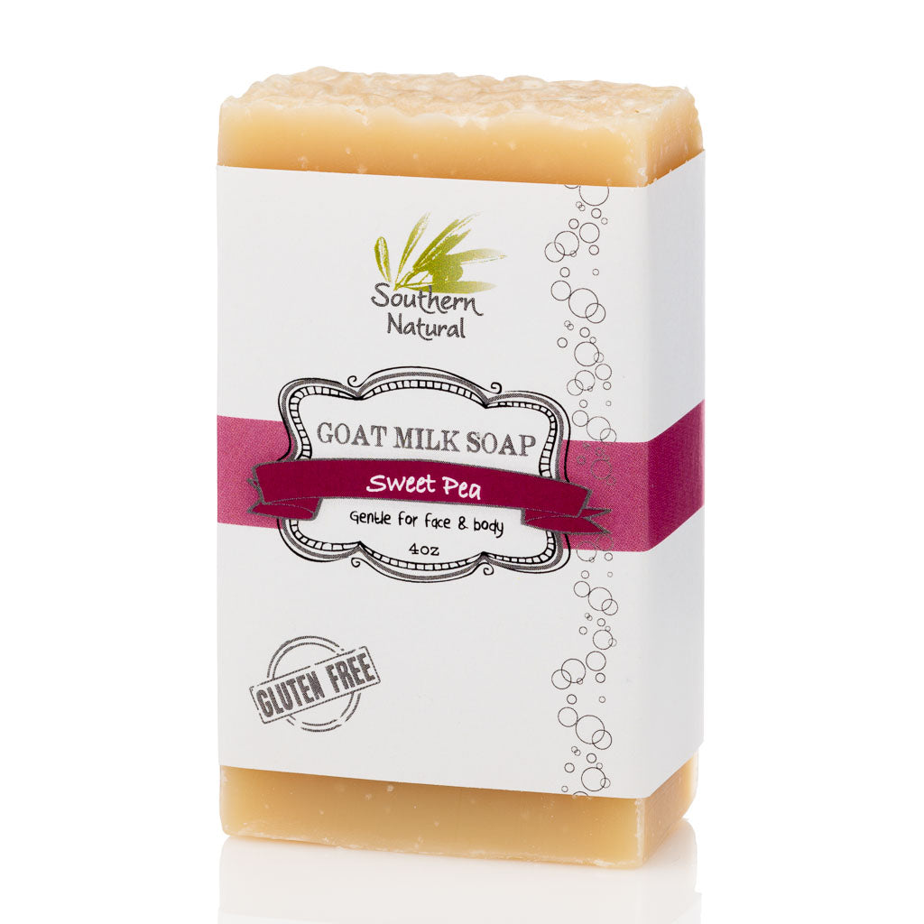 A picture of a bar of Sweet Pea Goat Milk Soap, sold by Southern Natural