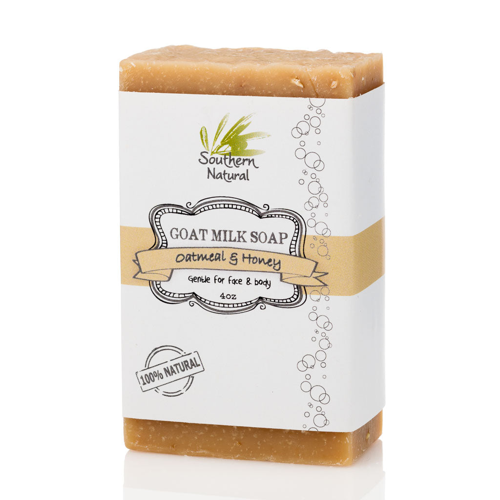 A bar of Oatmeal & Honey Goat's Milk Soap from Southern Natural