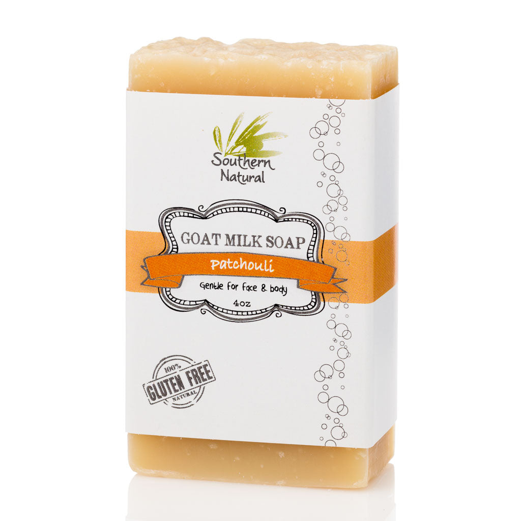 A bar of Patchouli Goat's Milk Soap from Southern Natural