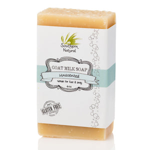 A picture of a bar of Unscented Goat Milk Soap, sold by Southern Natural