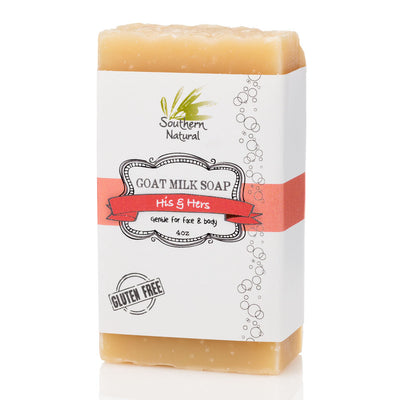A bar of His & Hers Goat's Milk Soap from Southern Natural
