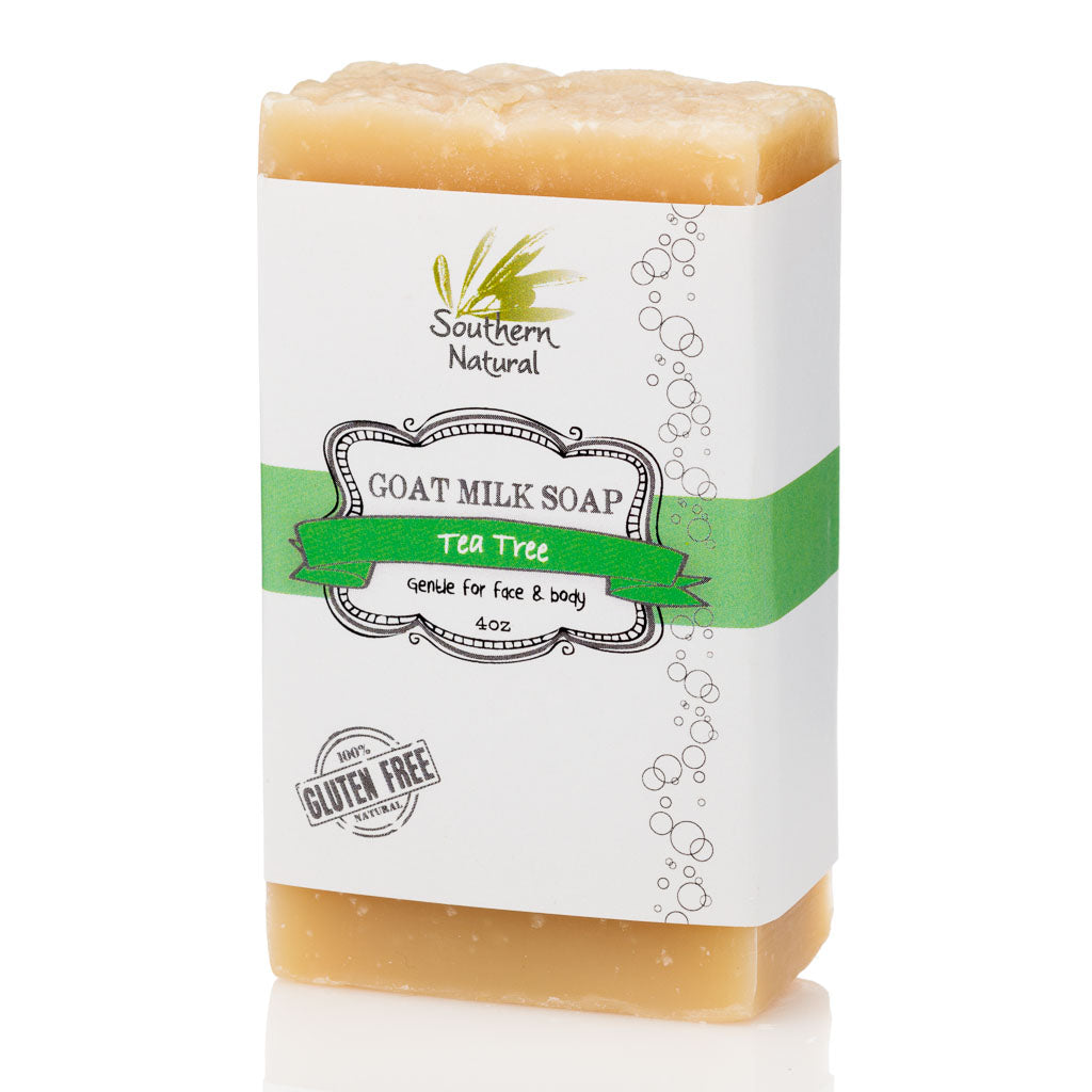 A picture of a bar of Tea Tree Goat Milk Soap, sold by Southern Natural