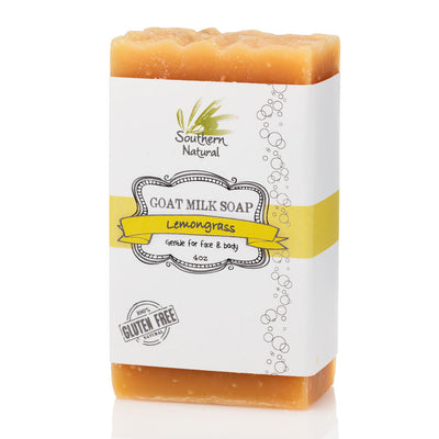A bar of Lemongrass Goat's Milk Soap from Southern Natural