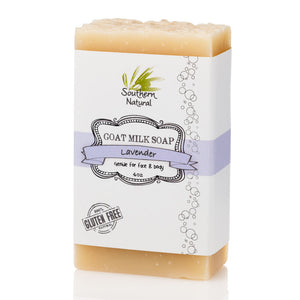 A bar of Lavender Goat's Milk Soap from Southern Natural