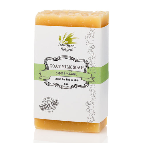A picture of a bar of Spa Fusion Goat Milk Soap, sold by Southern Natural