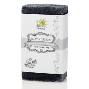 A bar of Dead Sea Mud With Bamboo Charcoal Goat's Milk Soap from Southern Natural