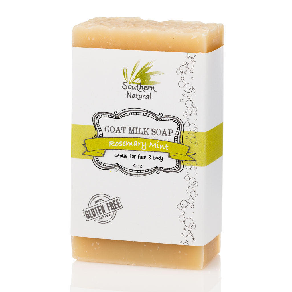 A picture of a bar of Rosemary Mint Goat Milk Soap, sold by Southern Natural