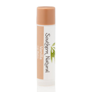 A picture of a stick of Vanilla Natural Lip Balm, sold by Southern Natural