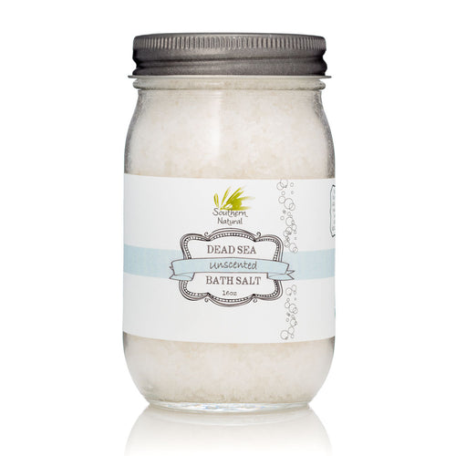 A picture of a container of Unscented Dead Sea Therapy Bath Salt, sold by Southern Natural
