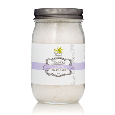 A container of Lavender Therapy Dead Sea Bath Salt from Southern Natural