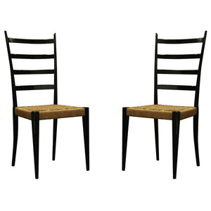 Gio Ponti | Black Ladder Back Chairs Excellent Condition