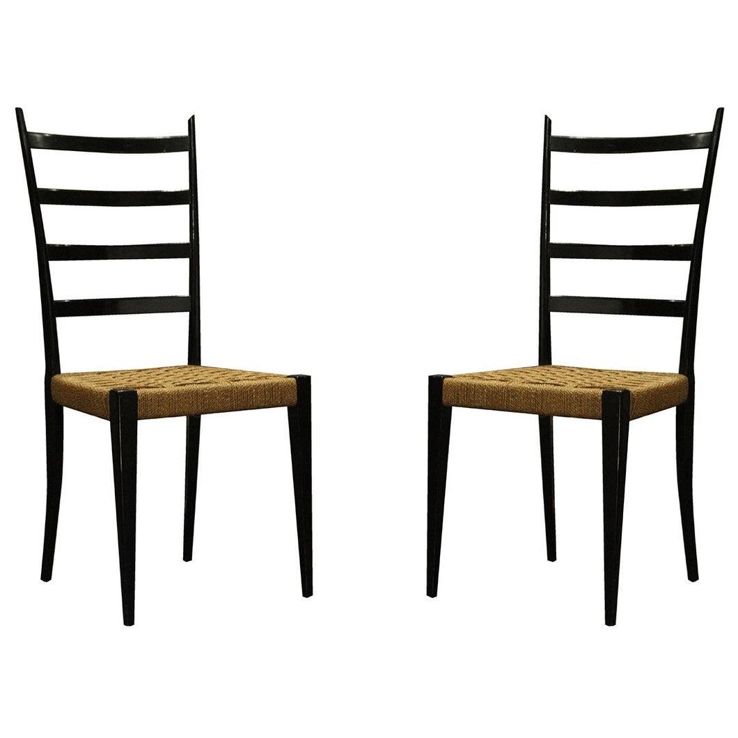 Gio Ponti | Black Ladder Back Chairs Excellent Condition - Roughan Home