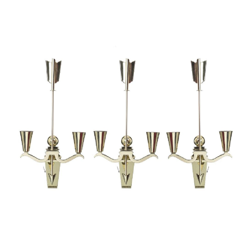 Style of Gio Ponti | Brass Arrow Italian Wall Sconces or Candle Sticks - Roughan Home