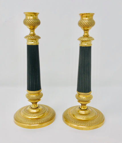 Brass & black Antique French Empire Brass Candlesticks