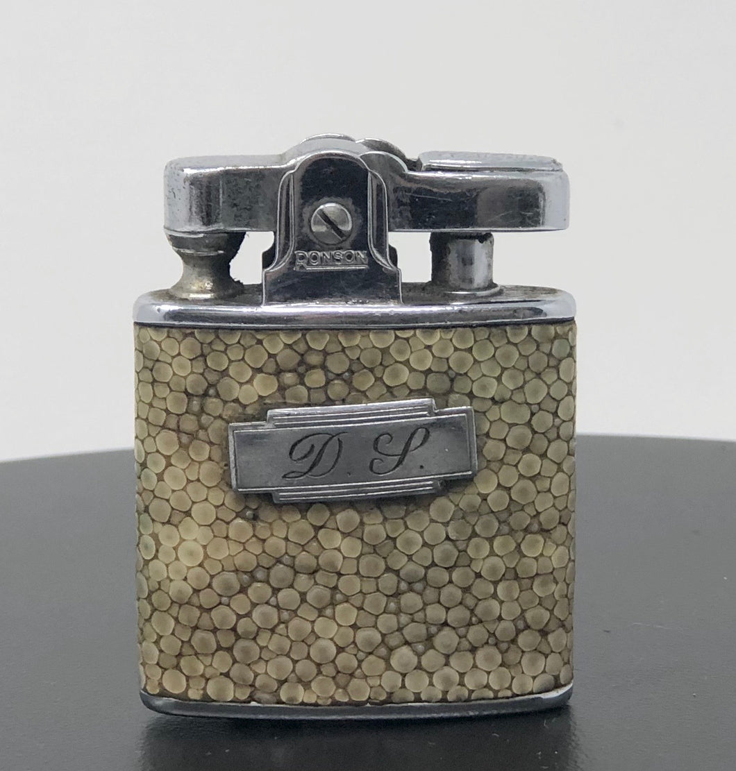 English Ivory Shagreen Ronson | Monogramed Lighter