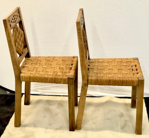 Chairs | 1940s South of France Rattan & Oak Dining Chairs