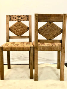 Chairs | 1940s South of France Rattan & Oak Dining Chairs - Roughan Home