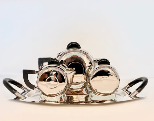 Art Deco | 4 Piece Polished Nickel Tea Set