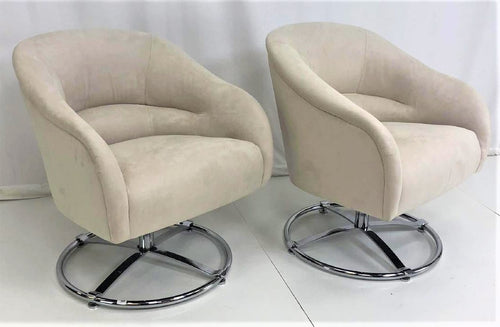 PR of Ward Bennett | Rare Barrel Back Swivel Chairs with Round Pedestal Base