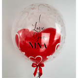 Personalisierter Bubble Ballon - Red Love - Balloon Up - Ballongruß