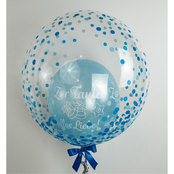 Bubble Ballon - Taufe - Konfetti Blau - Balloon Up